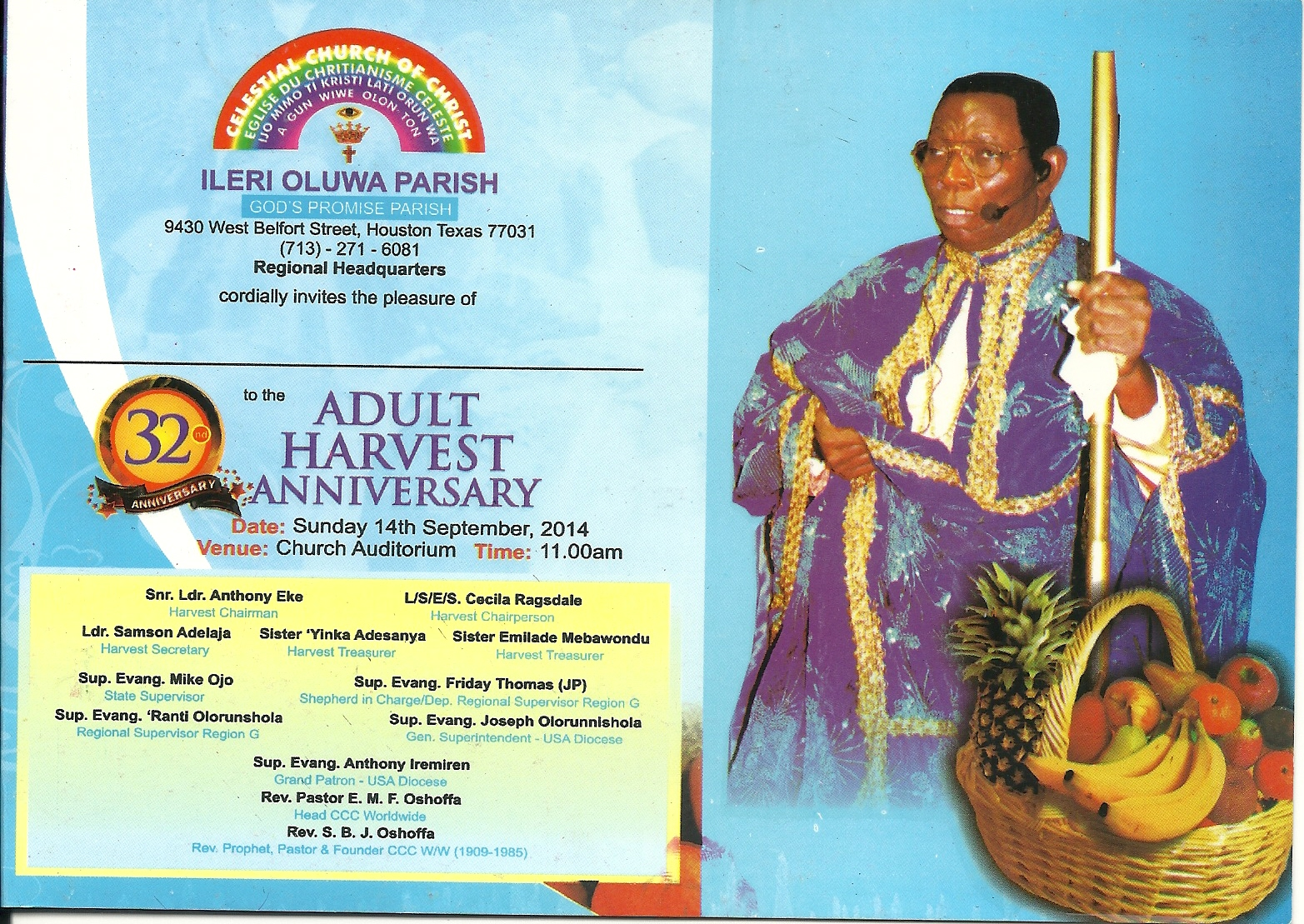 Celestial church of christ sanctuary of the lord parish los angeles ca invites you to their second annual adult harvest thanksgiving service on sunday june 8 2014 1100am prompt publicscrutiny Gallery