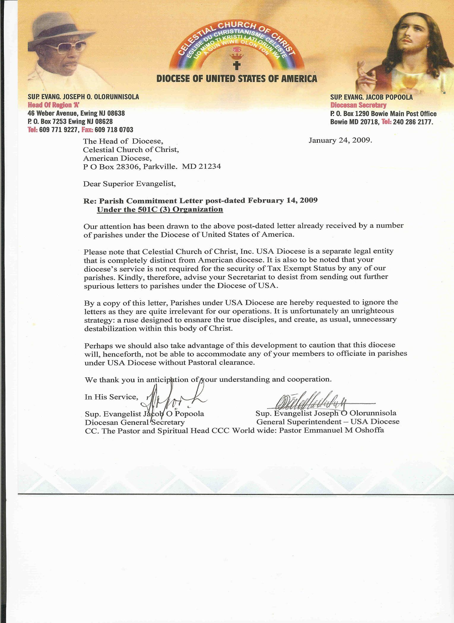 to our dismayed a replied letter written by the usa diocese diocese of united state of america